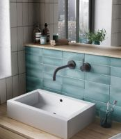 Cosmopolitan Aqua Satin Wall Tile 65 x 200