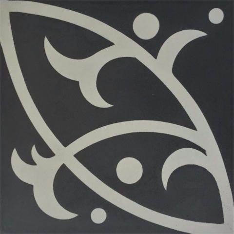 Encaustic Tile - VA Loire Handmade Grey Encaustic Tile 20cm x 20cm