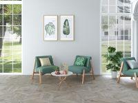 Chevron Wood Silver Floor Tile 85 x 395