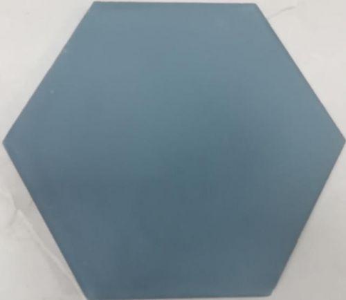 Encaustic Tile - VA Hexagon Handmade Teal Blue Plain Encaustic Tile 20cm x 23cm