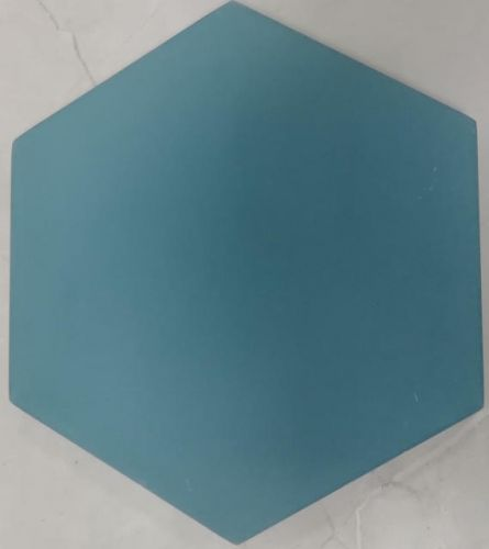Encaustic Tile - VA Hexagon Handmade Aqua Plain Encaustic Tile 20cm x 23cm