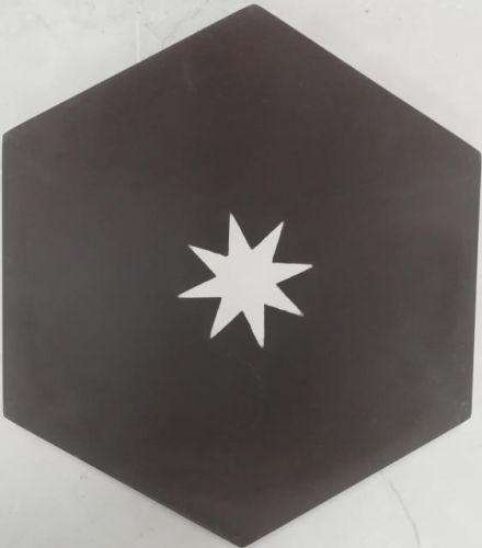 Encaustic Tile - VA Hexagon Handmade Black/White Star Encaustic Tile 20cm x 23cm