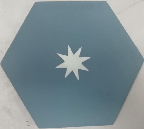 Encaustic Tile - VA Hexagon Handmade Teale/White Star Encaustic Tile 20cm x 23cm