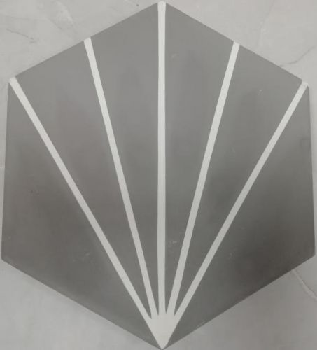 Encaustic Tile - VA Hexagon Handmade Grey/White Line Encaustic Tile 20cm x 23cm