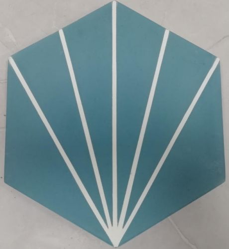 Encaustic Tile - VA Hexagon Handmade Aqua/White Line Encaustic Tile 20cm x 23cm
