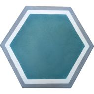 Encaustic Tile - VA Hexagon Handmade Aqua Encaustic Tile 20cm x 23cm