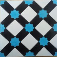 Encaustic Tile - VA Marrakech Blue Handmade Encaustic Tile 20cm x 20cm