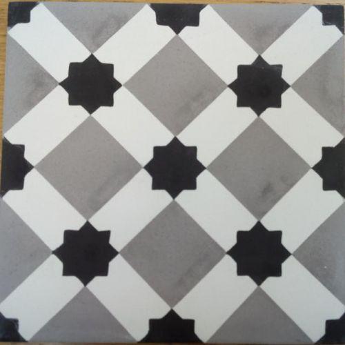 Encaustic Tile - VA Marrakech Handmade Grey Encaustic Tile 20cm x 20cm